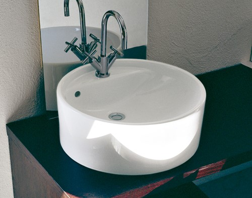 5050/42A TWIN SET 42 opzet wastafel met 1 kraangat - Kleur: GLOSSY WHITE