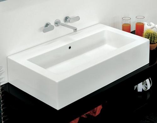 5051 Wastafel ACQUAGRANDE 100 zowel hangend als opzet - Kleur: GLOSSY WHITE