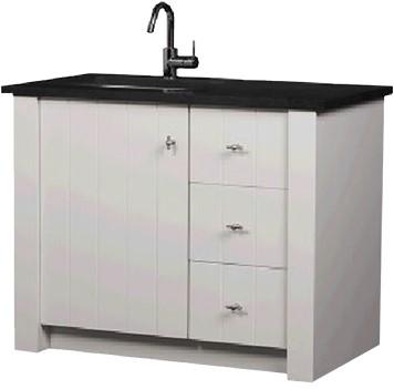 CN100B01W Country meubel 100 cm met granieten blad WIT