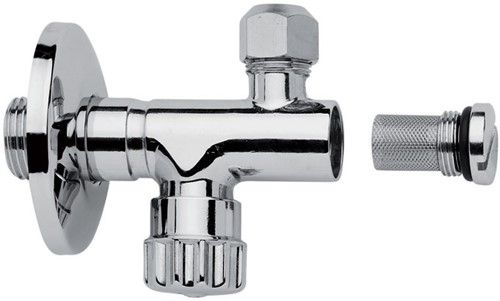 "F190CR Chrome-plated tap with filter,adjustment and shut off, 3/8"" Ø 10 outlet"