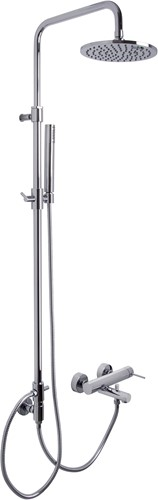 F3034/2CR 3034/2 CHROME EXPOSED BATH MIXER WITH SHOWER COLUMN, SHOWERHEAD AND