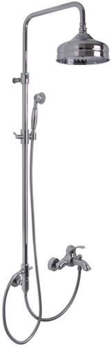 F3304/2CR Exposed mechanical bath mixer with shower column, showerhead and shower set