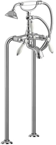 F5404/4CR Floor mounted bath tap on risers with shower set