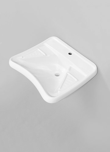 G1009 Ophang Wastafel ergonomisch met 1 kraangat - Kleur: GLOSSY WHITE