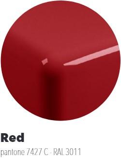 IO60M4RC Wandmeubel IO van 80 tot 150 x 55 x h 10 cm in PIETRALUCE met uitsparing voor wastafel IO 60 (IO4260) - Kleur: RED
