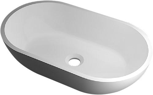 RO761 Vrijstaand Solid Surface opbouw kom mat wit