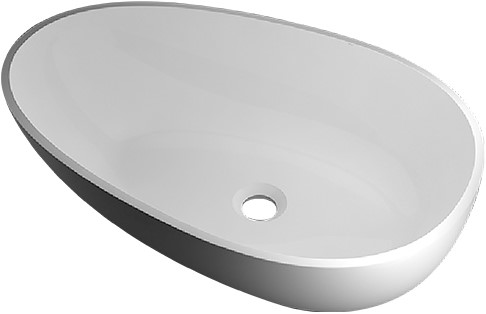 RO762 Vrijstaand Solid Surface opbouw kom mat wit
