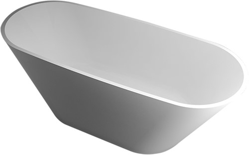 RO784 Vrijstaand Solid Surface bad OVAL mat wit