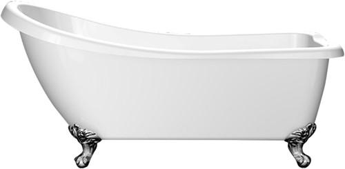 RO902 Vrijstaand bad op chromen poten glanzend wit