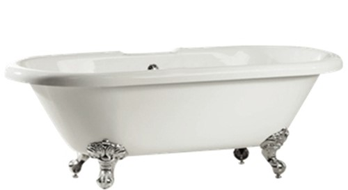RO921 Vrijstaand bad op chromen poten glanzend wit