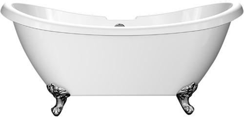 RO992 Vrijstaand bad op chromen poten glanzend wit