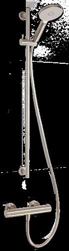 IT1929S  IT opbouw douchethermostaat set met 90 cm. glijstang en 3 standen handdouche Geborsteld RVS Look
