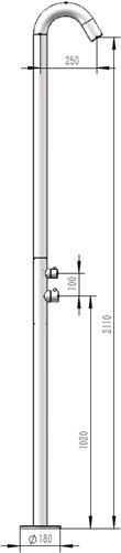 IT1913B  IT1913B Vrijstaande douche kolom mat zwart 316 geborsteld met staafdouche